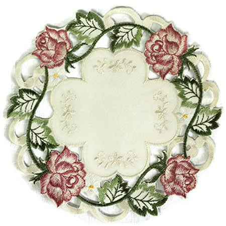 Doily Boutique Round Doily Embroidered with Victorian Pink Roses on Ivory Fabric, Size 11 inches ()