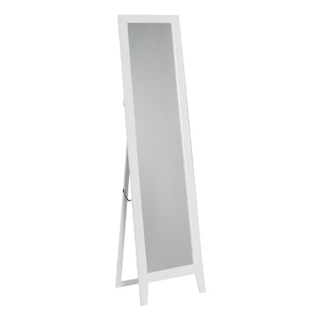 White wood frame rectangle floor standing mirror 15 x 59 for Floor mirror white frame