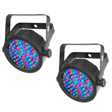 - (2) Chauvet SlimPar 38 LED DMX Slim Par Can Stage Pro DJ RGB Lighting Effects