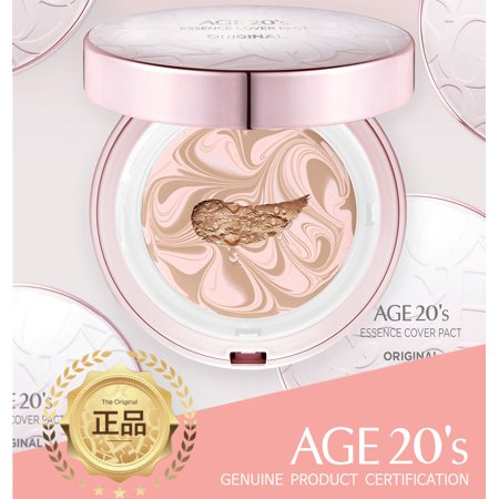- Age 20's Compact Foundation Premium Makeup, + 1 Extra Refill - Essence Cover Pact SPF50+ (Made in Korea) - Pink / Natural Beige (Color 23)