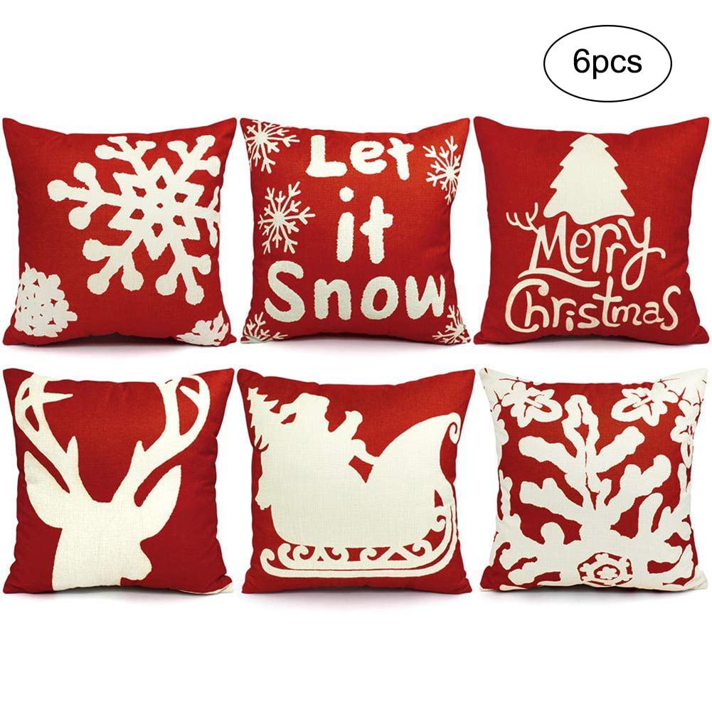 Famure 6pcs Christmas Pillow Covers 18 X 18 Christmas Decorations Pillows Covers Christmas Decorative Throw Pillows Cases Sofa Indoor Outdoor Home Decor Walmart Com Walmart Com