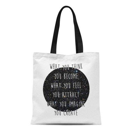 SIDONKU Canvas Tote Bag Inspiring Law of Attraction Space Constellations Galaxies Stars Black Reusable Handbag Shoulder Grocery Shopping Bags