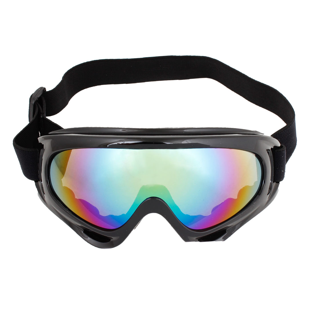 Woman Man Black Plastic Frame Colored Lens Sports Ski Goggles Glasses by