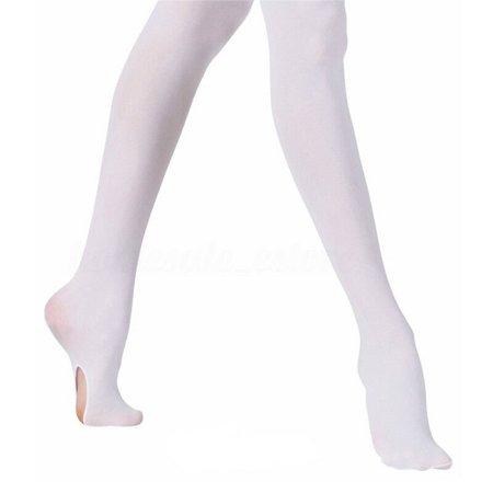Fashion Kids Adults Convertible Tights Dance Stocking Socks Ballet Pantyhose White 100-135cm