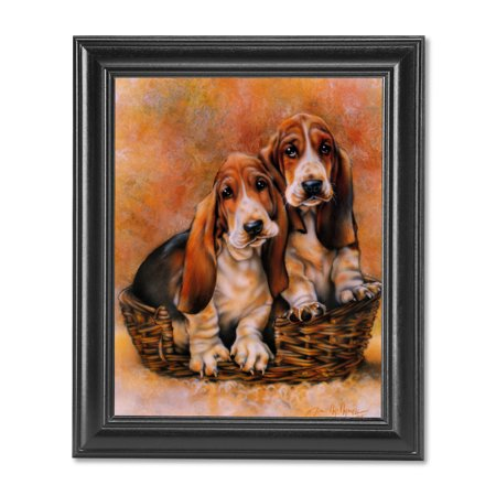 Two Bassett Hound Puppy Dogs in Wood Basket Wall Picture Black -