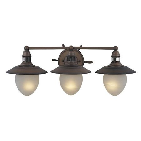 Copper 3 Light Vanity (Vaxcel Orleans 3-Light Vanity Light - 28W in. Antique Red Copper )