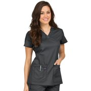 MC2 by Med Couture Women's Olivia V-Neck Scrub Top Large White