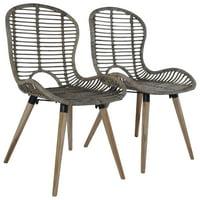 OTVIAP Dining Chairs 2 pcs Natural Rattan Brown