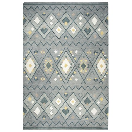 Gatney Rugs Wildcat Area Rugs - TL646A Contemporary Gray Blue Rows Wool Tufted Diamonds Rug