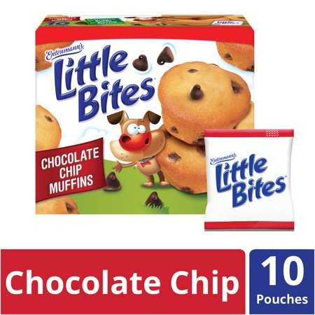 Entenmann's Little Bites Chocolate Chip Mini Muffins made with Real Chocolate, 10 Pouches, 16.5 oz - Halloween Little Debbie Snacks
