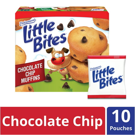 Entenmann's Little Bites Chocolate Chip Mini Muffins made with Real Chocolate, 10 Pouches, 16.5