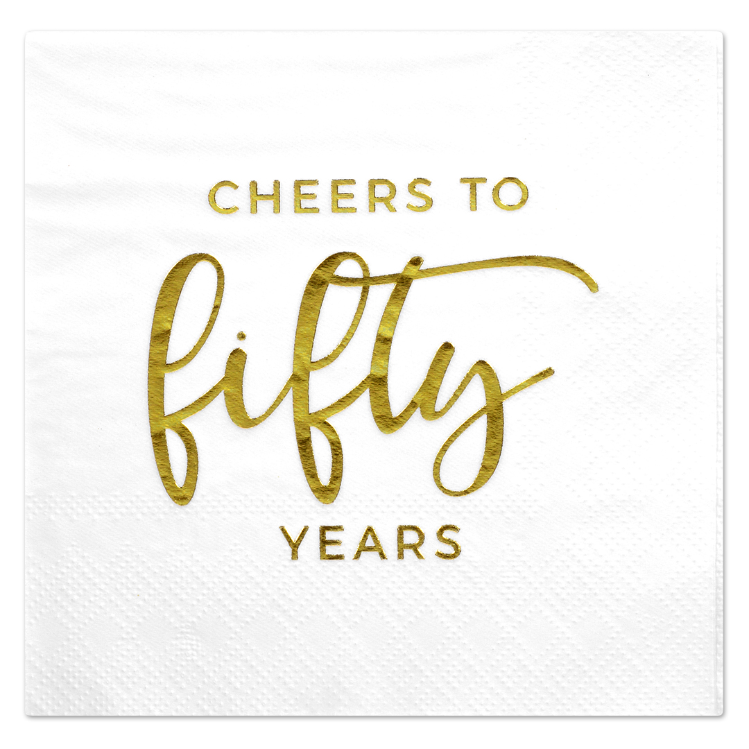 Koyal Wholesale Love Laughter Happily After, Funny Quotes Cocktail Napkins, Gold Foil, Bulk 50 Pack Count 3 Ply Napkins