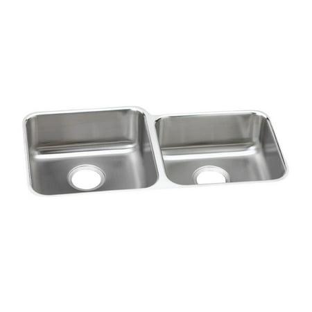 Refurbished Elkay Lustertone ELUHAD312055R Offset Double Bowl Undermount Stainless Steel ADA Kitchen Sink Elkay Lustertone Ada Sink Bowl