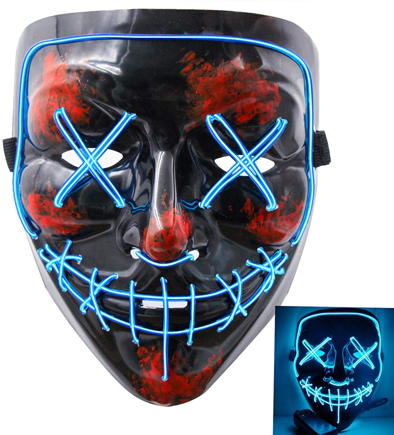Tagital Halloween Mask Led Light Up Funny Masks The Purge Movie Scary Festival Costume Walmart Com Walmart Com