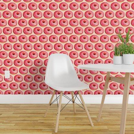 Wallpaper Roll Vintage Retro Kitschy Donut Food Pink Breakfast 24in x