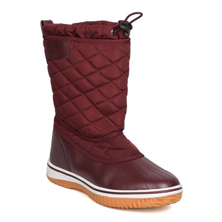Burgundy Cowboy Boots (Women Mixed Media Quilted Drawstring Snow Boot)