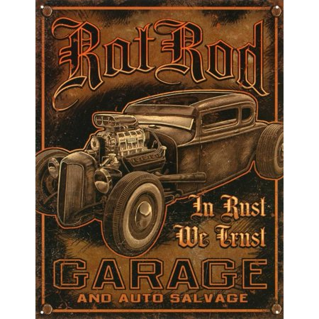 Rat Rod Garage Distressed Retro Vintage Tin Sign Tin Sign -