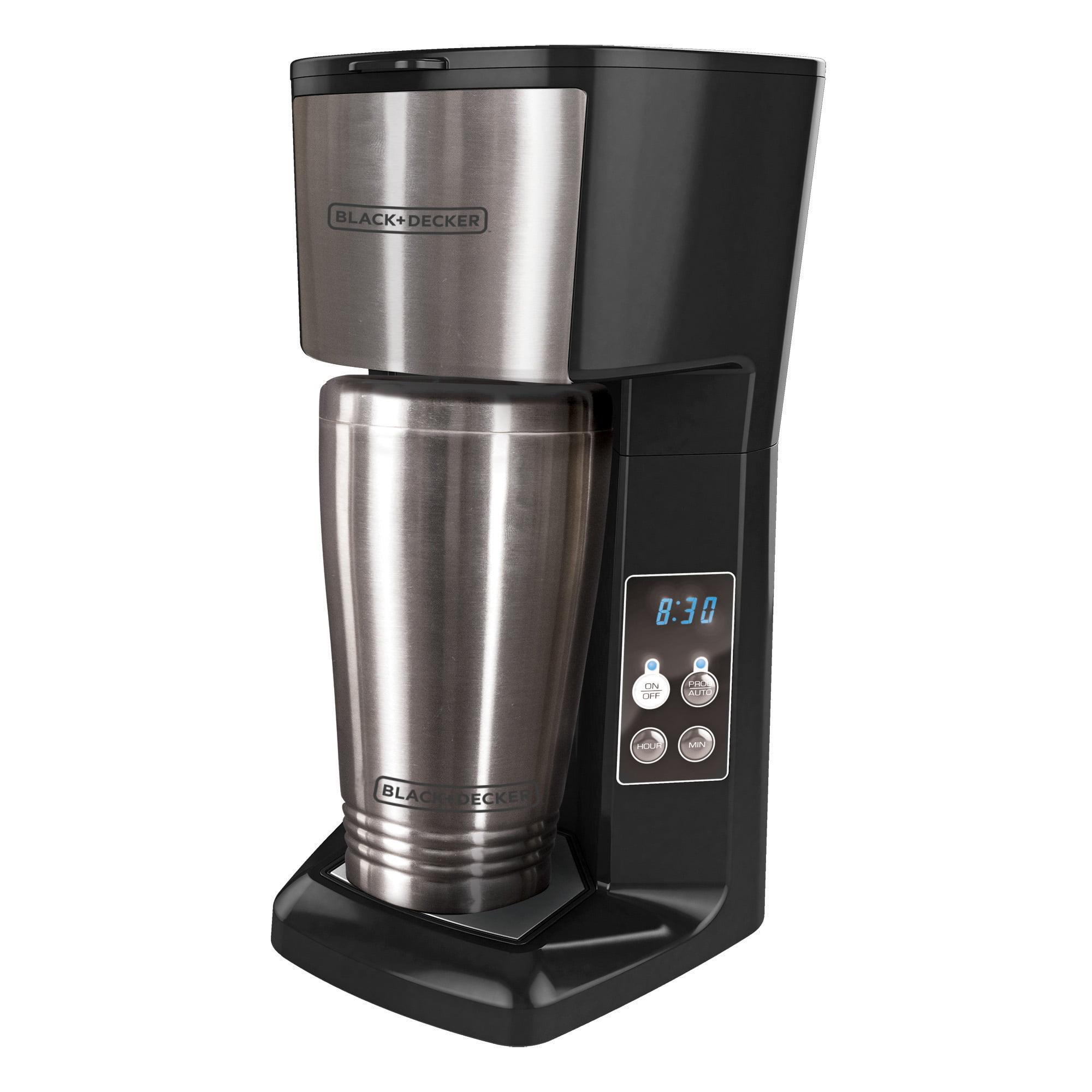 BLACK+DECKER Single Serve Programmable Coffeemaker, Black/Stainless Steel, CM625B