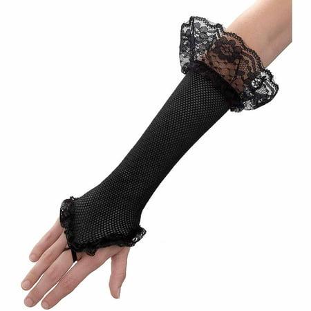 Black Mesh Fingerless Gloves Adult Adult Halloween Costume Accessory