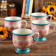 The Pioneer Woman Flea Market Happiness 15 oz Decorated Mugs, Red & Turquoise, Set of 4