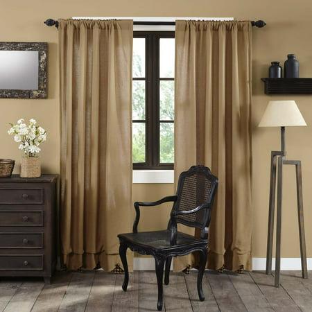 - Natural Black Tan Primitive Curtains Veranda Burlap Tan Check Rod Pocket Cotton Tie Back(s) Buttons Cotton Burlap Panel Pair