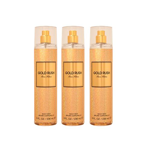 Gold Rush Paris Hilton For Women Body Mist 8.0 oz (PACK OF 3)