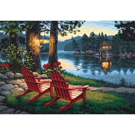 Paintworks Paint By Number, Adirondack Evening, Includes high-quality acrylic paints By Dimensions Needlecrafts