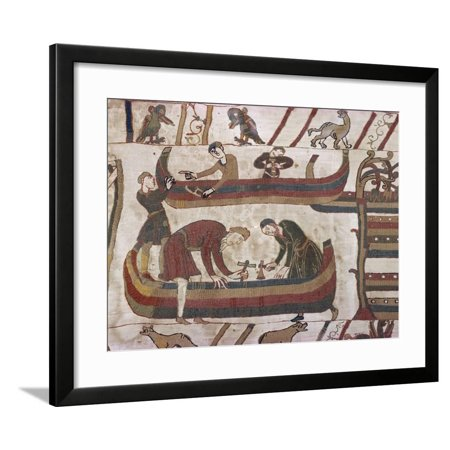 Building Ships in Preparation for War, Bayeux Tapestry, Bayeux, Normandy, France, Europe Framed Print Wall Art By Rawlings - Bayeux Tapestry Embroidery
