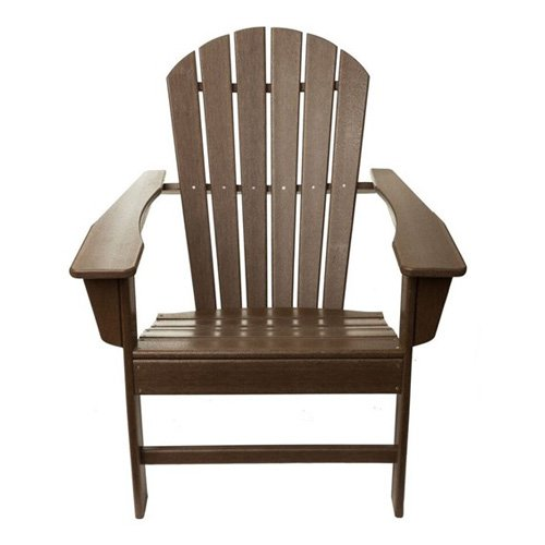 TIAB Poly Recycled Plastic Folding Adirondack Chair Brown by String Light Company