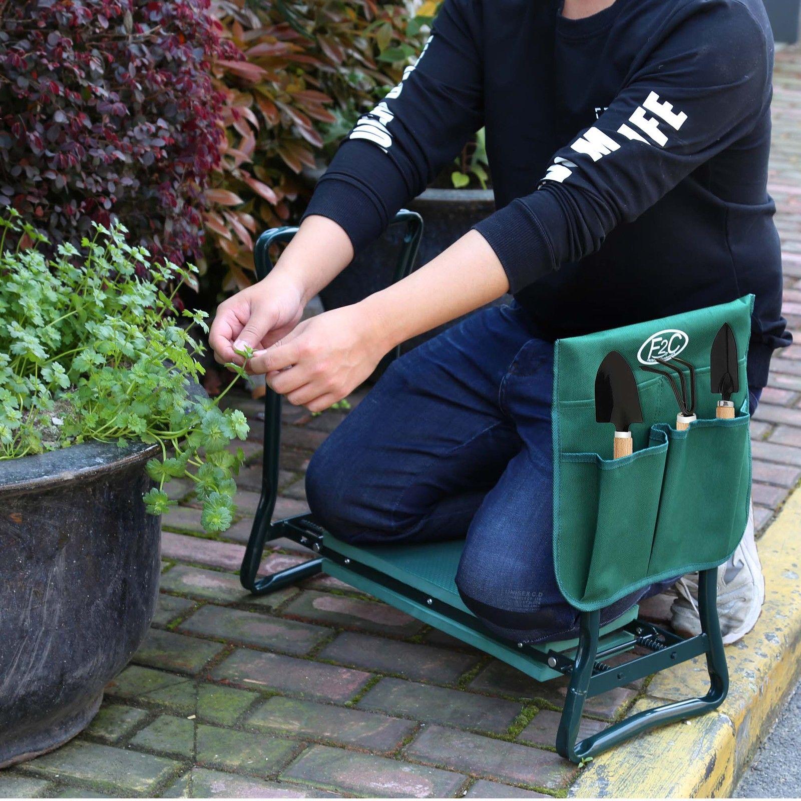 Zeny Foldable Garden Kneeler Bench Kneeling Stool Soft Cushion Seat EVA Pad w/ Tool Pouch