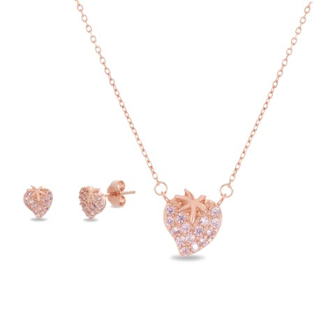 Lesa Michele Women's Pink Cubic Zirconia Strawberry Design Stud Earring and Matching Pendant 16.5