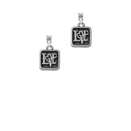 Silvertone Antiqued Square Seal - Love with Heart Clear Crystal Post Earrings