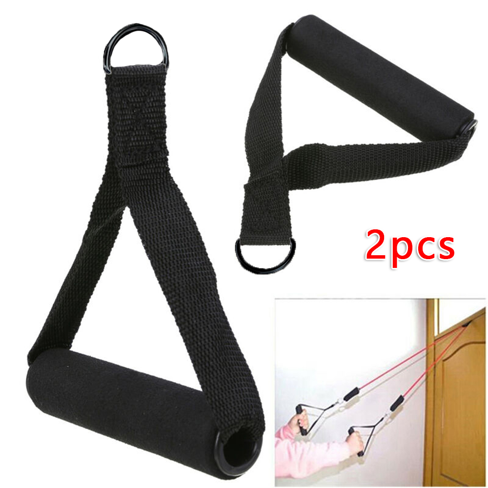 2x Black Tricep Rope Cable Attachment Handle Bar Resistance Gym Training Band