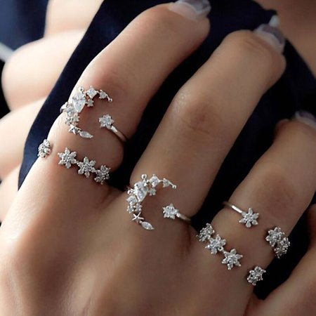 5Pcs/Set Crystal Star Flower Stackable Sparkly Rings Vintage Boho Jewelry Gifts Finger Ring Set - Flower Ring Jewelry