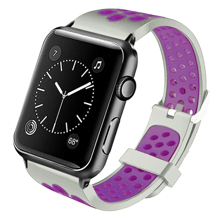 Perforated Sport Band Watch Strap for Apple Watch 44mm / 42mm - Grey Purple