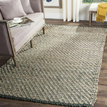 Safavieh  Casual Natural Fiber Hand-Woven Blue/ Natural Jute Rug (6' Square)