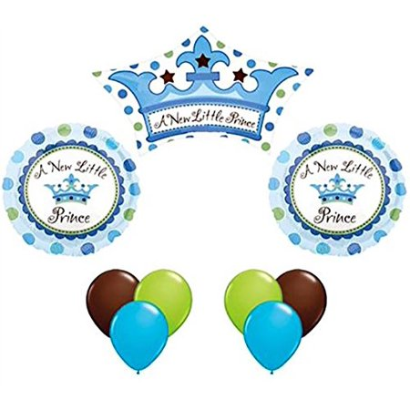 Helium Balloon Rental (Custom, Fun & Cool 9 Pack of Helium & Air Inflatable Mylar/Latex Balloons w/ Gender Reveal A New Little Prince Crown Polka Dot Design [Variety Assorted Multicolor in Blue, White,)