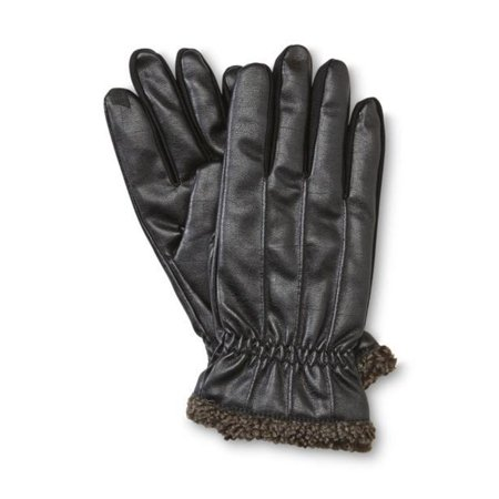 Isotoner Smart Touch Mens Black Faux Leather Thermaflex Text Gloves Smartouch