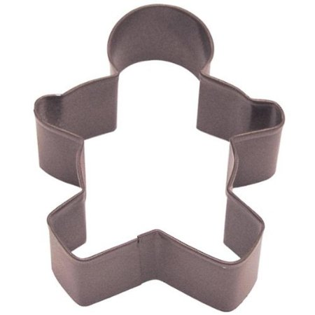 Cybrtrayd R&M Gingerbread Boy Cookie Cutter with Brightly Colored Durable Baked-On Polyresin Finish, 3.5-Inch
