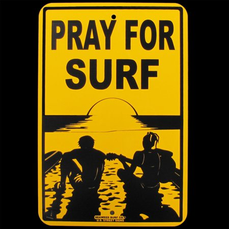Surfing Decor Surf Decor - Tin PRAY FOR SURF Hawaii Big Wave Surfer Sign Beach Bar/Shop Surfing Wall Decor