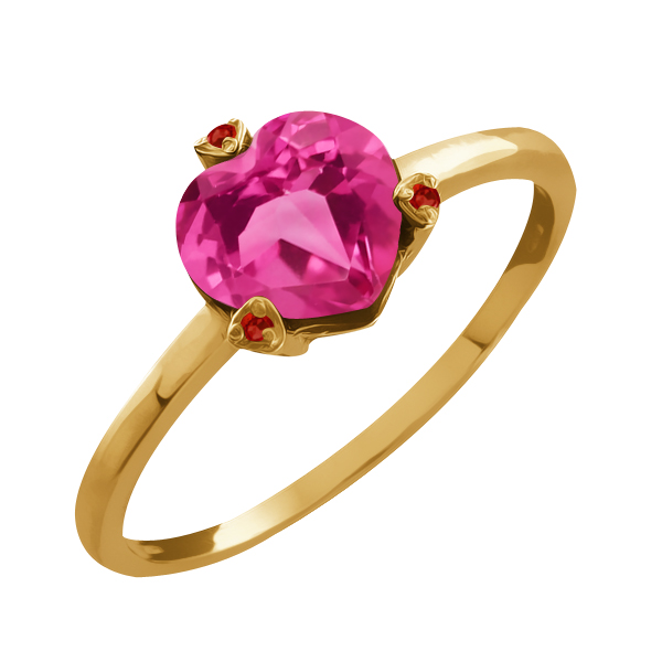 1.62 Ct Heart Shape Pink Mystic Topaz and Rhodolite Garnet 14k Yellow Gold Ring by