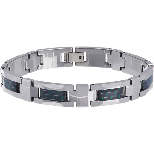 Daxx Men's Tungsten Green and Black Fiber Inlay Link Bracelet
