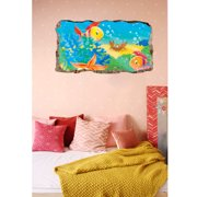 Startonight 3D Mural Wall Art Photo Decor Aquatic Window with Fishes Amazing Dual View Surprise Medium Wall Mural Wallpaper for Bedroom Kids Collection Wall Paper Art 32.28 inch By 59.06 inch
