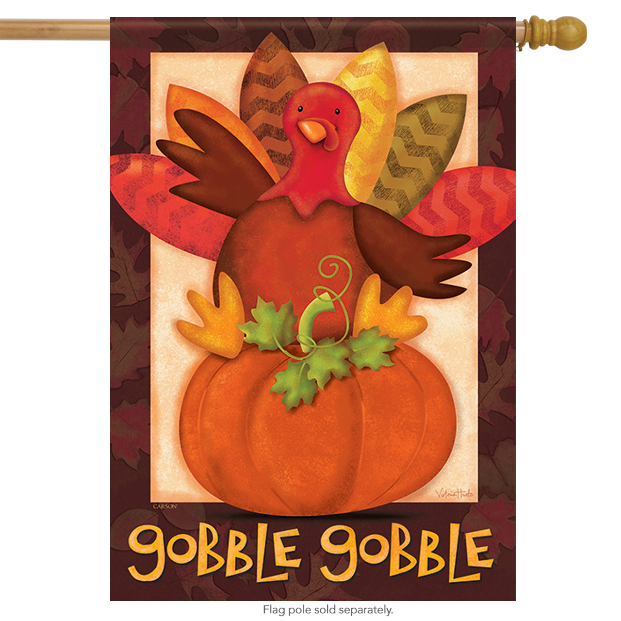 "Gobble Gobble Turkey Thanksgiving House Flag Fall Harvest Pumpkin Fall 28"" x 40"""