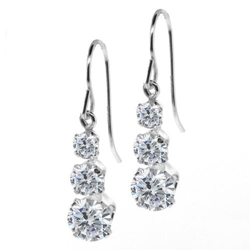 1.78 Ct Round G/H Diamond 925 Sterling Silver 3-Stone Earrings