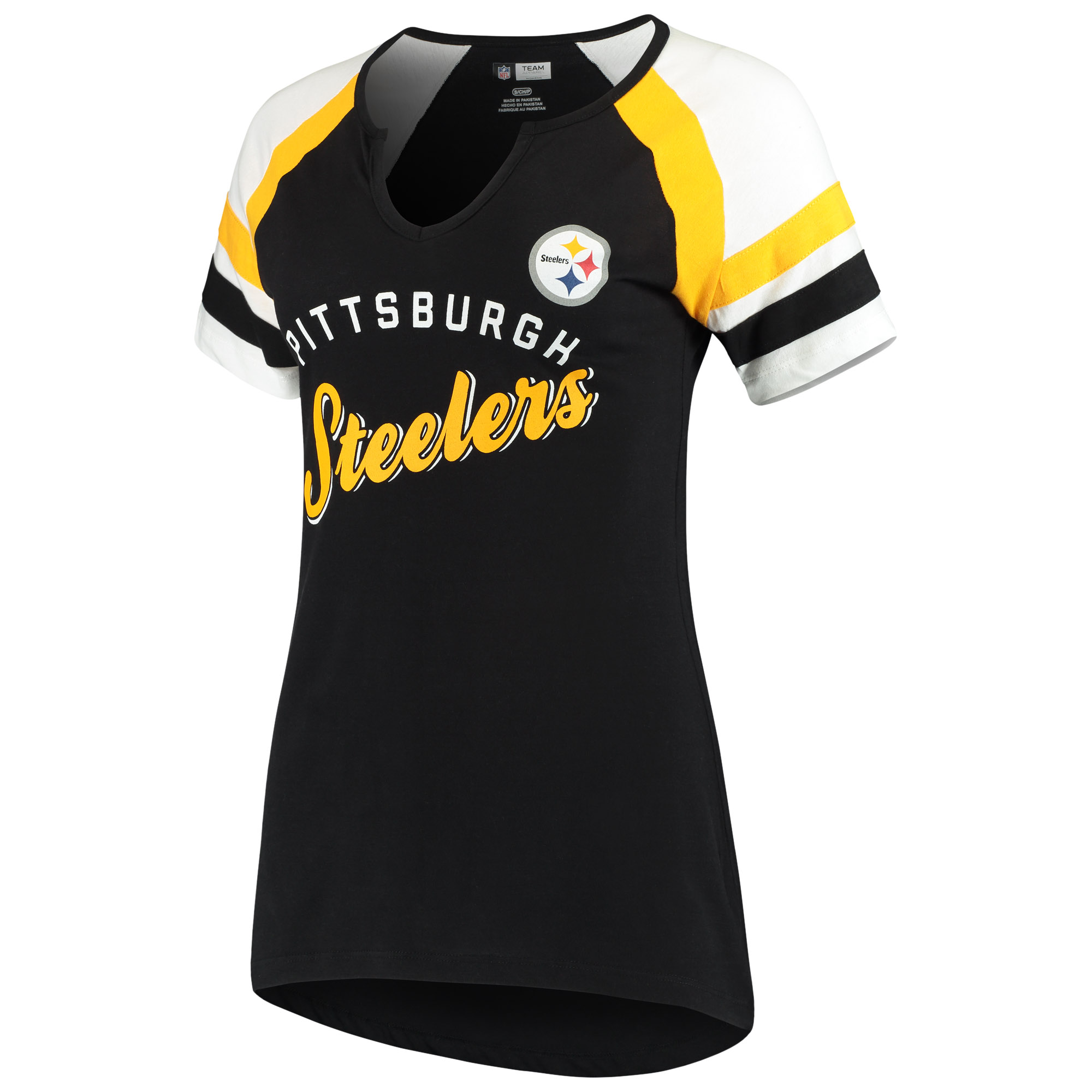Women's Majestic Black/White Pittsburgh Steelers Defensive Victory V-Notch T-Shirt