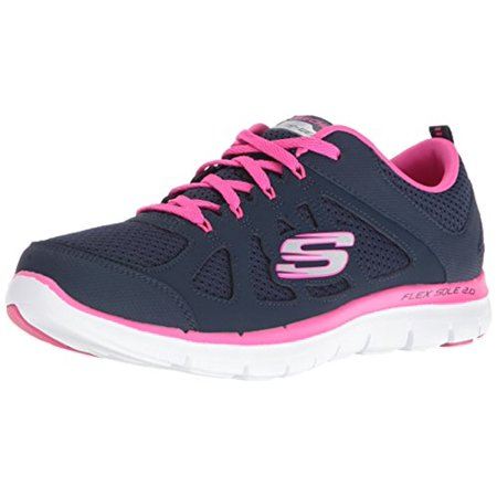 12761 Navy Hot Pink Skechers Shoe Women Memory Foam Sport Train Comfort Flex New 12761NVHP (Skechers Memory Foam Shoes Girls)