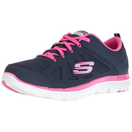 12761 Navy Hot Pink Skechers Shoe Women Memory Foam Sport Train Comfort Flex New 12761NVHP