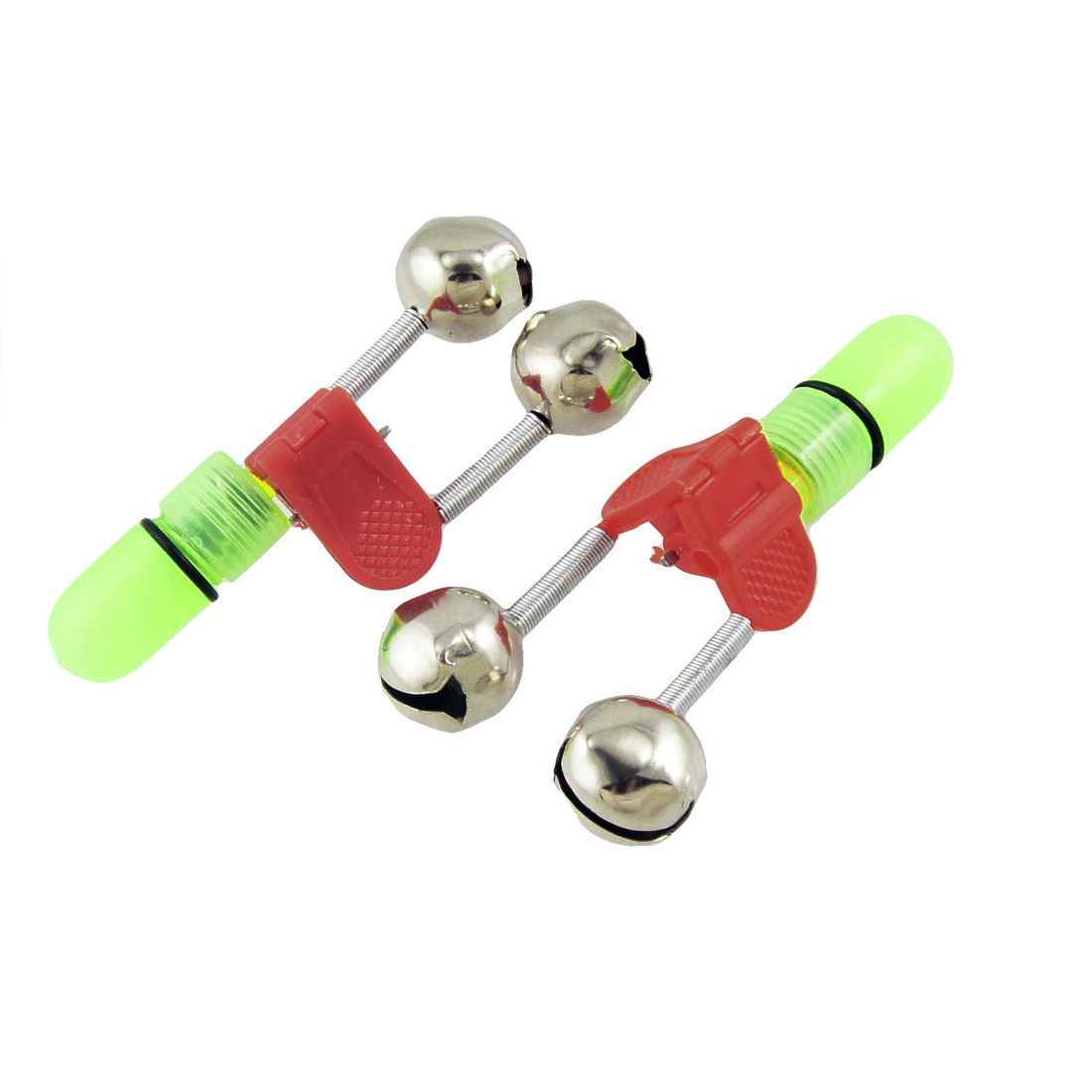 3 Pcs Fishing Rod Blue LED Lamp Bite Alarm Alert Ring Bells w Red Clip
