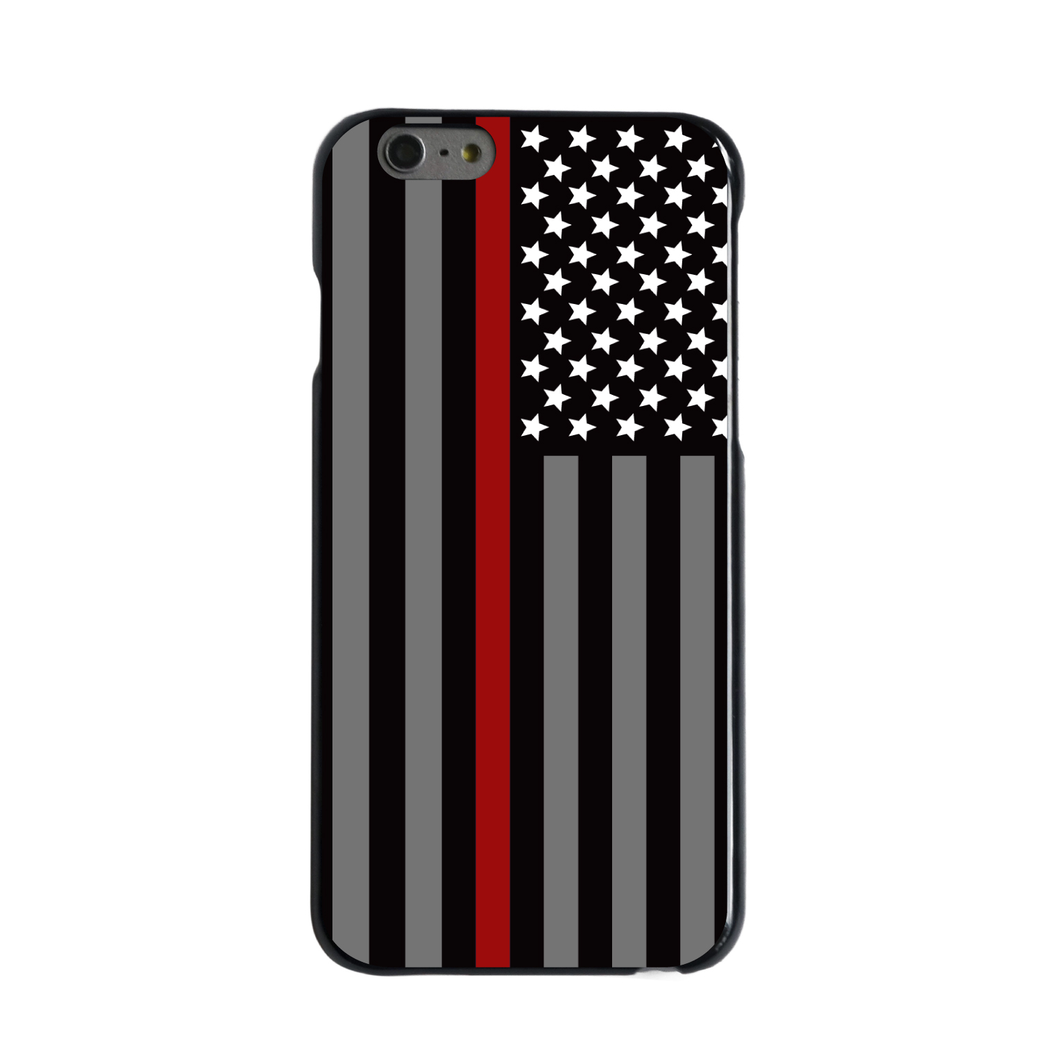 """CUSTOM Black Hard Plastic Snap-On Case for Apple iPhone 6 PLUS / 6S PLUS (5.5"""" Screen) - Thin Red Line US Flag Fire Rescue"""